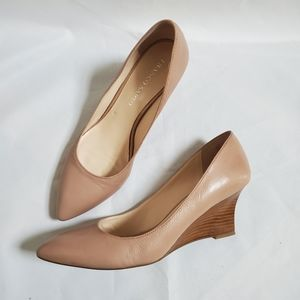 Franco Sarto Nude Patience Leather Wedge Heels